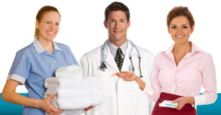 Hospitality, hospital, and restaurant workers receive linen services.